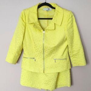 Tahari Size 10 Blazer & Skirt Set Yellow Textured